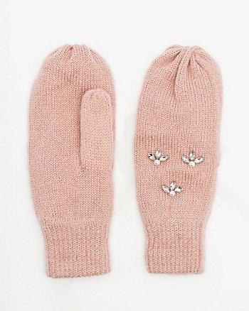 Gem & Pearl Embellished Knit Mittens
