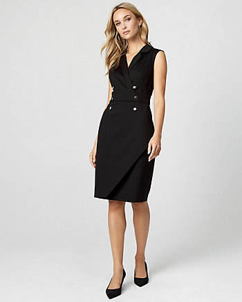 Ponte Knit Double Breasted Sheath Dress