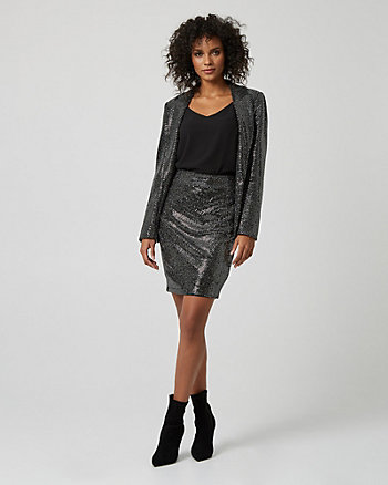 Metallic Knit Draped Pencil Skirt