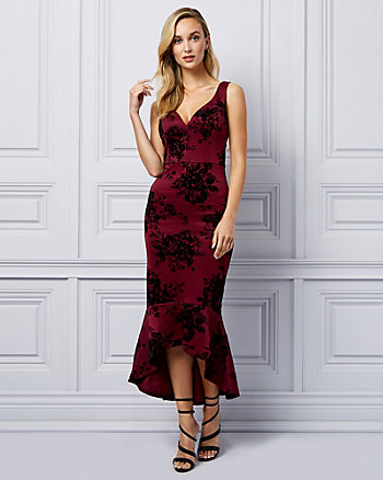 Flocked Print Scuba Knit Trumpet Dress