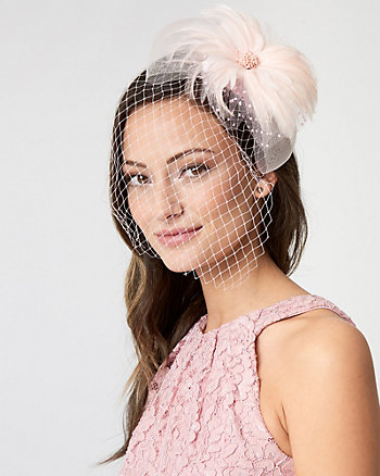 Birdcage Veil & Feather Fascinator