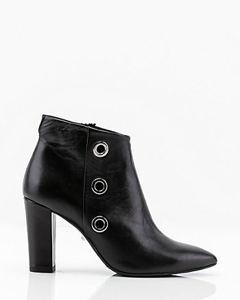 Italian-Made Leather Rivet Ankle Boot