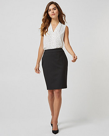 Viscose Blend High Waist Pencil Skirt