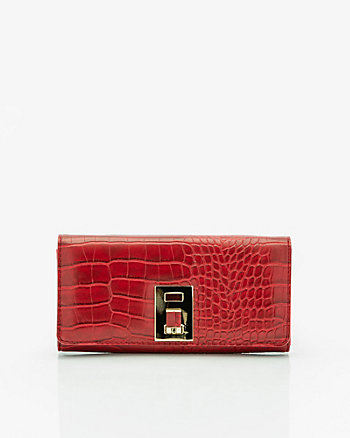 Croco Embossed Faux Leather Flapover Wallet