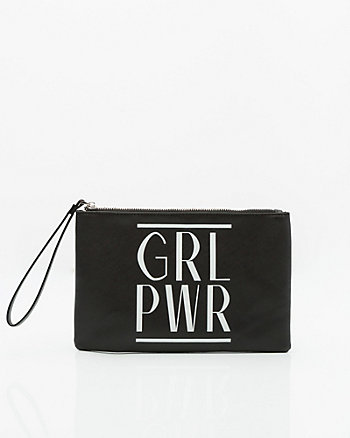 GRL PWR Leather-Like Cosmetic Pouch