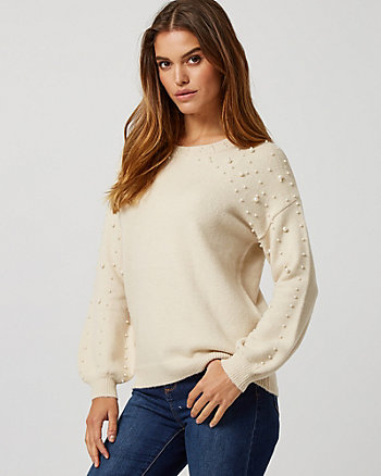 Pearl Embellished Bishop Sleeve Sweater
