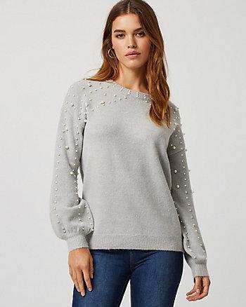 Pearl Embellished Bishop Sleeve Sweater