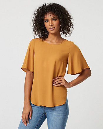 Crêpe de Chine Flutter Sleeve Top