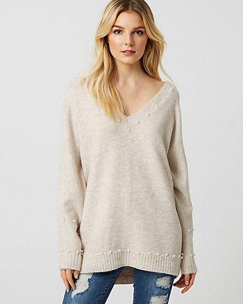 Pearl Embellished Bouclé V-Neck Sweater