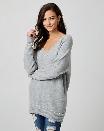 Pearl Embellished Bouclé V-Neck Sweater