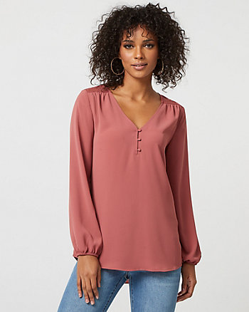 Crêpe de Chine & Lace V-Neck Blouse