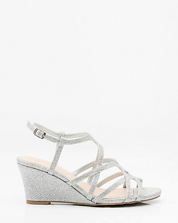 Glitter Mesh Open Toe Strappy Wedge Sandal