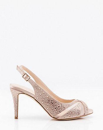 Jewel Embellished Satin & Mesh Slingback Sandal