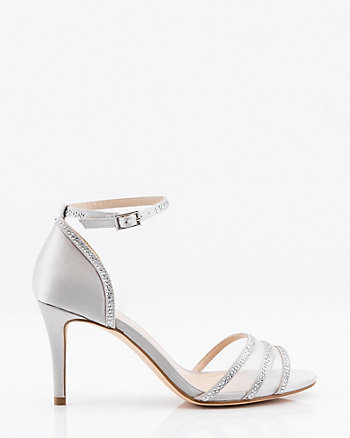 Jewel Embellished Satin & Mesh Sandal