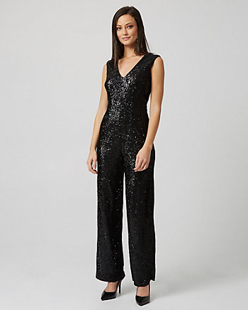 Sequin & Knit Wide Leg Jumpsuit