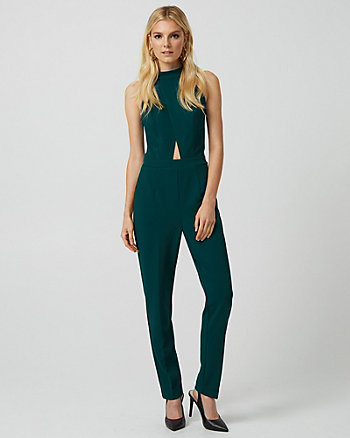 Knit Crêpe Mock Neck Cutout Jumpsuit