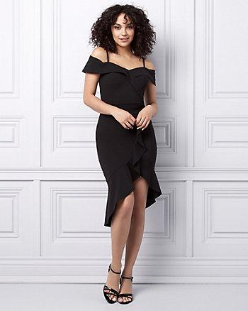 Knit Crêpe Cold Shoulder Ruffle Dress