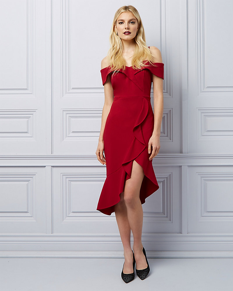 6018fd5b218 Knit Crêpe Cold Shoulder Ruffle Dress