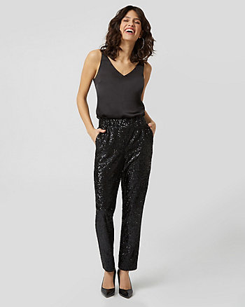 Sequin & Knit Track Pant