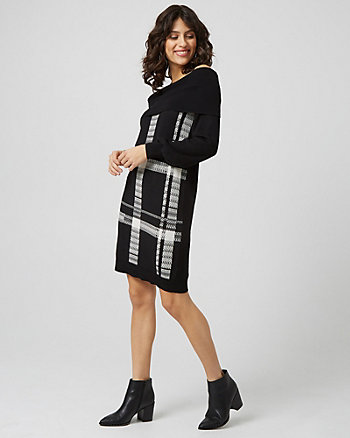 Check Off-The-Shoulder Sweater Dress