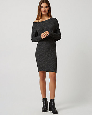 Knit Asymmetric Boat Neck Dress