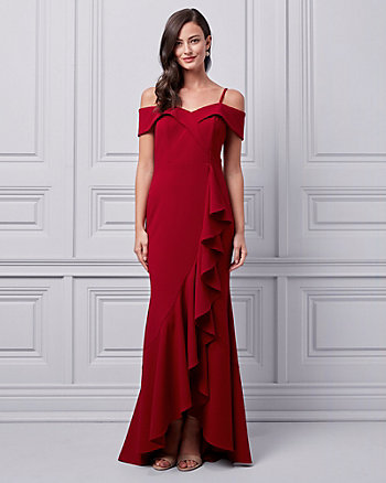 Knit Crêpe Cold Shoulder Ruffle Gown