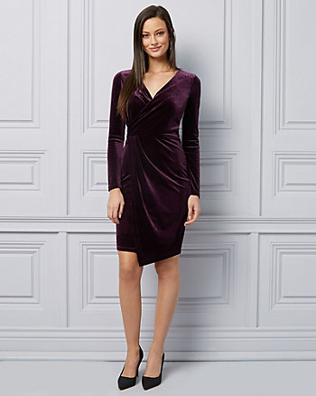 Velvet Wrap-Like Cocktail Dress