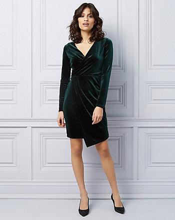 Velvet Wrap-Like Cocktail Dress