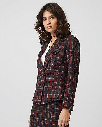 Check Print Double Breasted Blazer