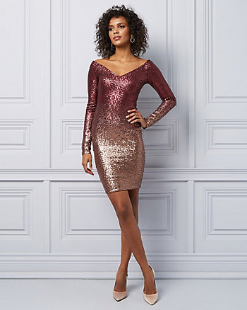 Ombré Sequin Off-The-Shoulder Dress