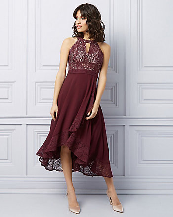 Lace High-Low Halter Cocktail Dress