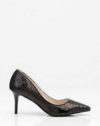 Sequin Pointy Toe Pump Heel