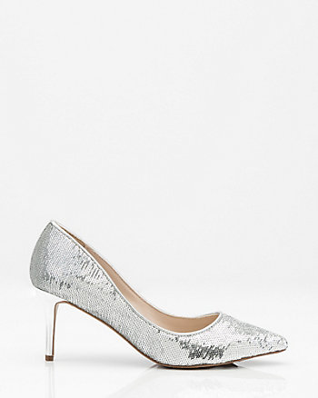 Sequin Pointy Toe Pump Heel