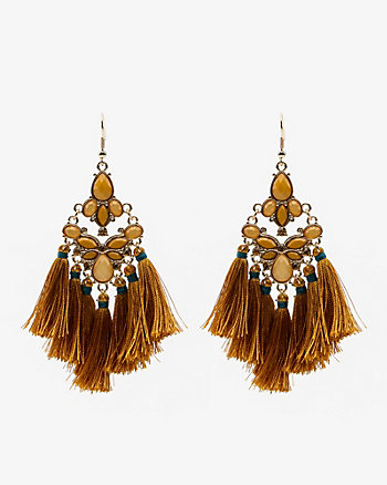 Cabochon Gem Tassel Earrings