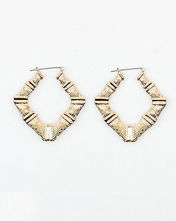 Diamond-Shape Hoop Earrings