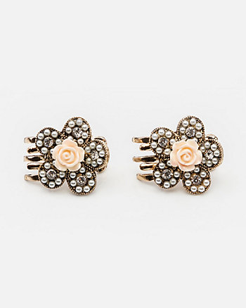 Pearl & Gem Encrusted Flower Hair Clip