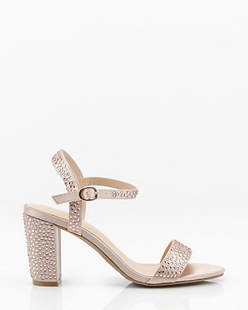 Jewel Embellished Satin Almond Toe Sandal