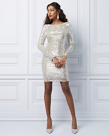 Sequin & Mesh Scoop Neck Cocktail Dress
