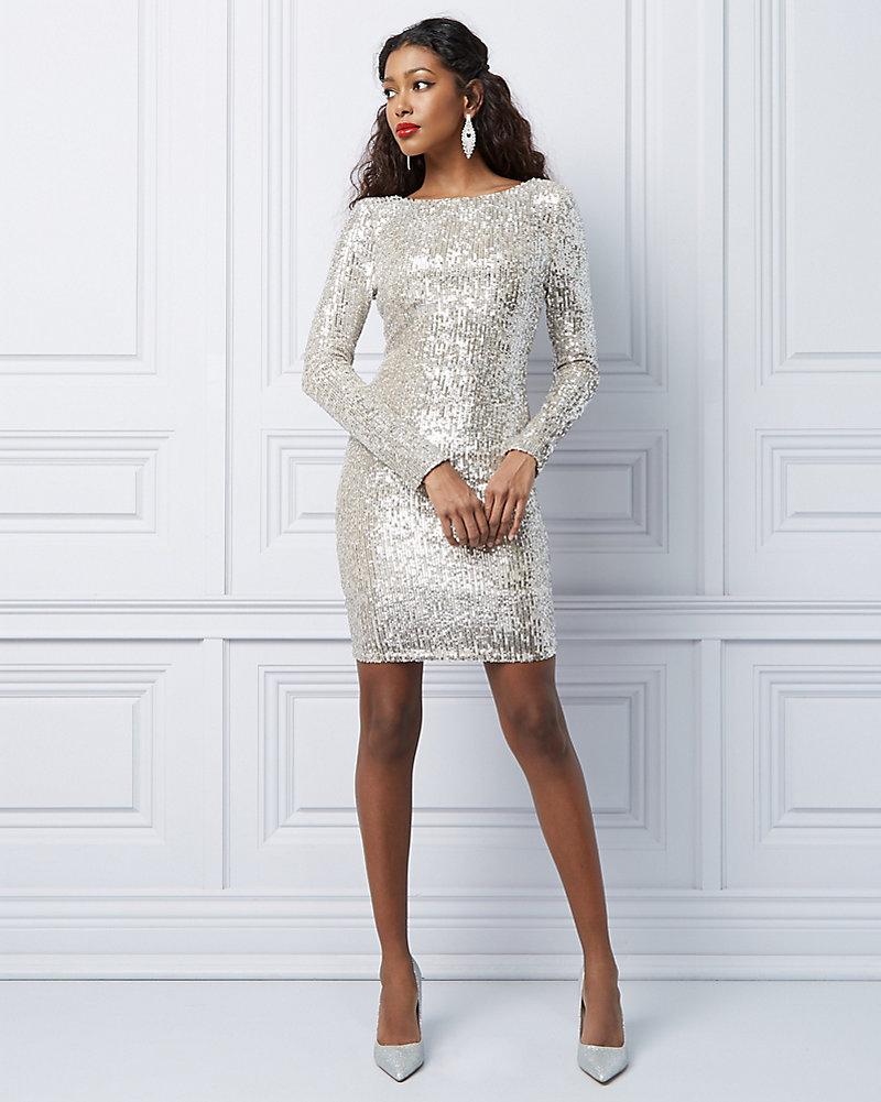 b63697d276 Sequin   Mesh Scoop Neck Cocktail Dress