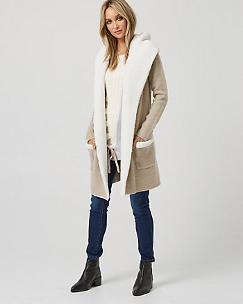 Wool Blend & Sherpa Hooded Sweater Coat