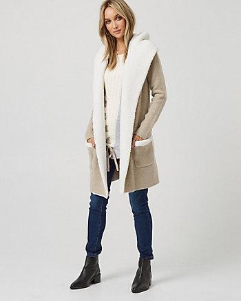 Wool Blend & Sherpa Hooded Sweater Coat