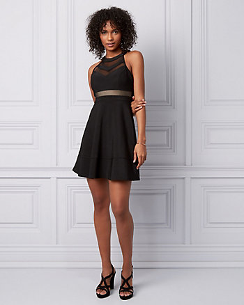 Ottoman Knit & Mesh Illusion Halter Dress