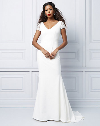 Embroidered Short Sleeve Trumpet Gown