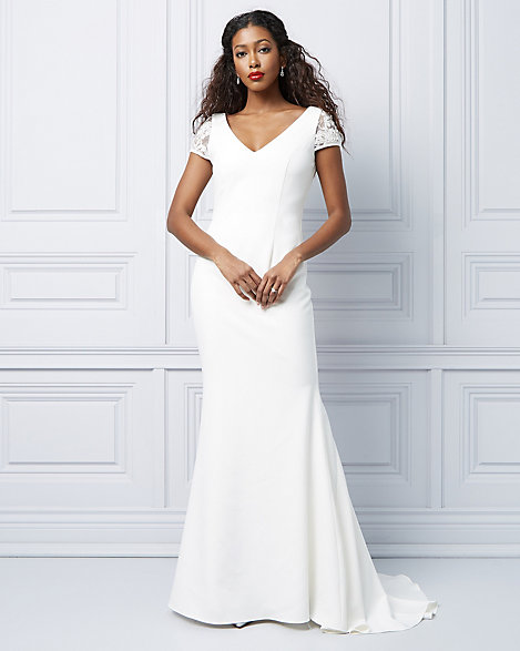Le ChÂteau Embroidered Short Sleeve Trumpet Gown