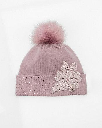 Embellished Floral Appliqué Pom-Pom Hat