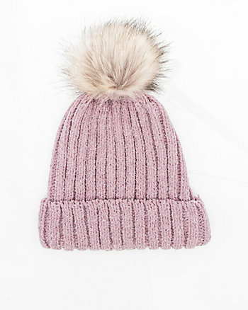 Metallic Knit Pom-Pom Hat