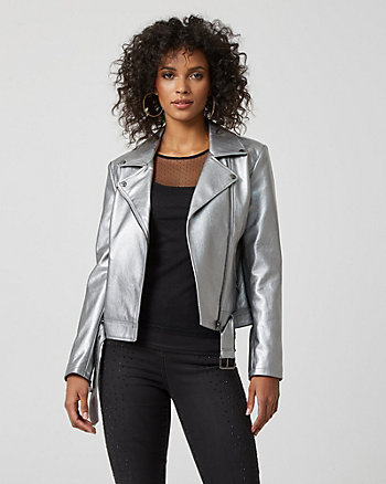 Metallic Leather-like Motorcycle Jacket