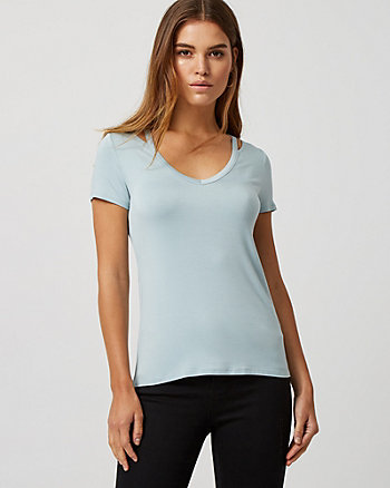 Viscose Blend V-Neck Cutout T-Shirt