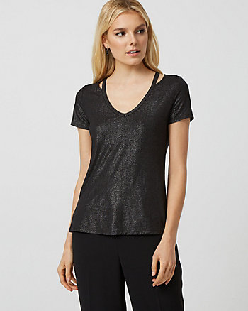 Foil V-Neck Cutout Top