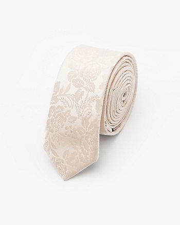 Tonal Floral Print Microfibre Skinny Tie